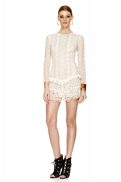 Off White Cotton Crochet Mini Dress