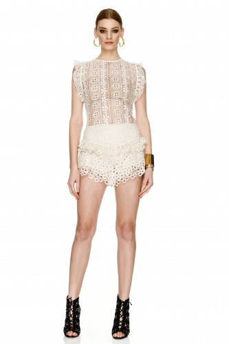 Off White Lace Cotton Crocheted Top - PNK Casual