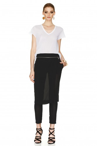 Black Pants With Overlaid Skirt - PNK Casual