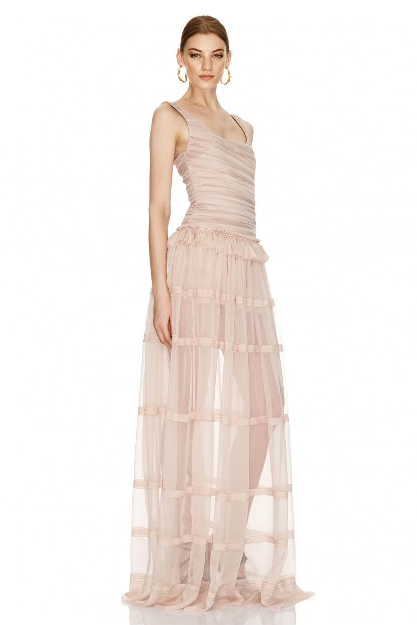 Pink Silk Long Skirt