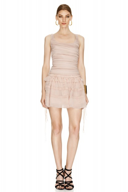 Pink Silk Mini Skirt