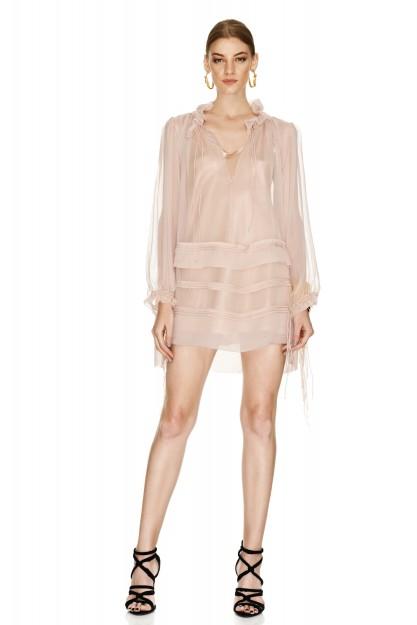 Pink Silk Ruffled Mini Dress