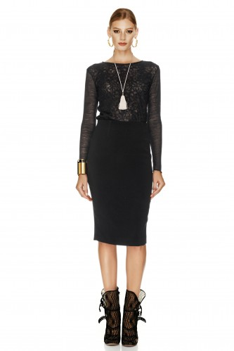 Black Skirt With Velvet Detail - PNK Casual
