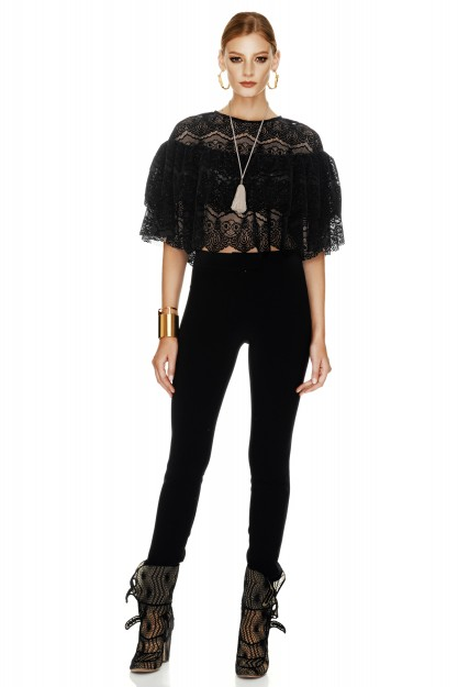 Black Velvet Lace Blouse
