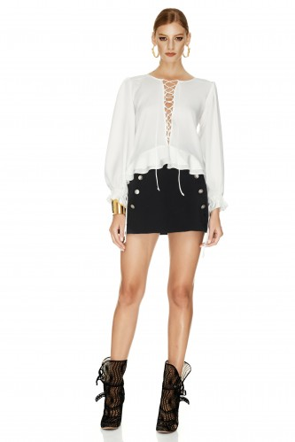 White Lace-up Blouse - PNK Casual
