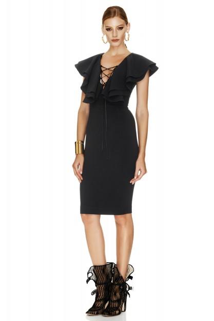 Black Jersey Ruffled Dress