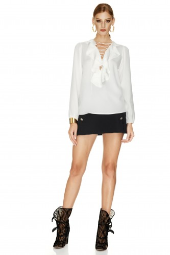 White Lace-up Ruffled Blouse - PNK Casual