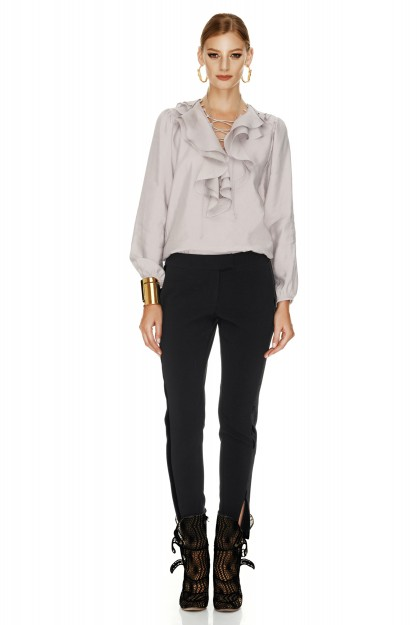 Black Jersey Pants With Velvet Detail