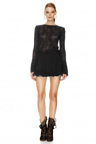 Black Ruffled Mini Skirt - PNK Casual