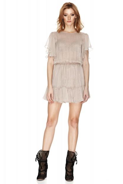 Beige Silk Chiffon Dress