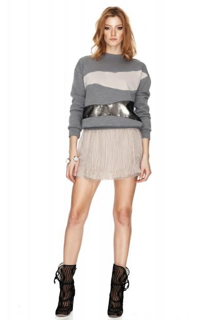 Beige Silk Chiffon Mini Skirt