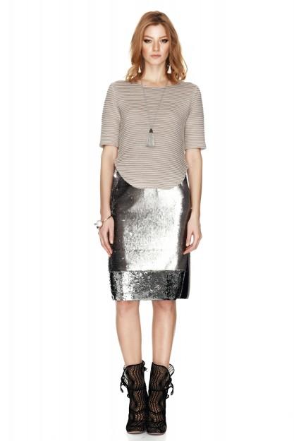 Silver Sequins Skirt