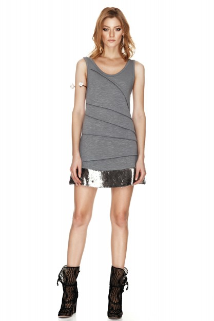 Grey Sequins Detail Mini Dress