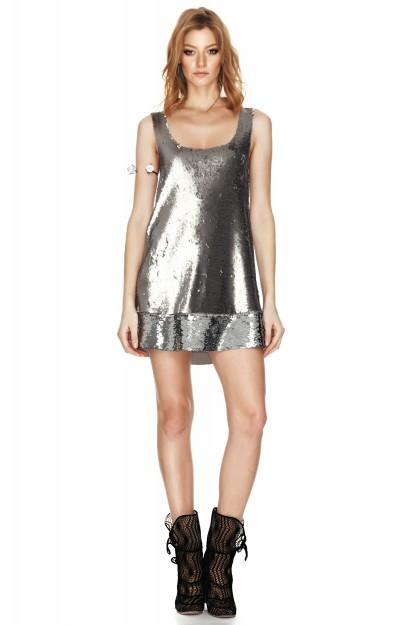 Silver Sequins Mini Dress