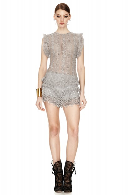 Grey Crocheted Lace Top