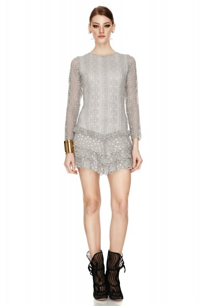 Grey Crocheted Lace Mini Dress