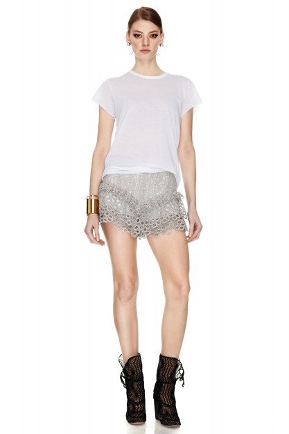 Grey Crocheted Lace Shorts
