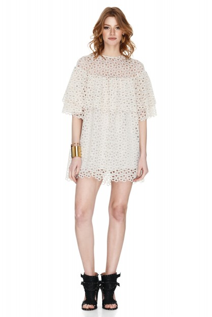 Off White Lace Mini Dress