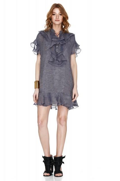 Violet-Blue Linen Mini Dress