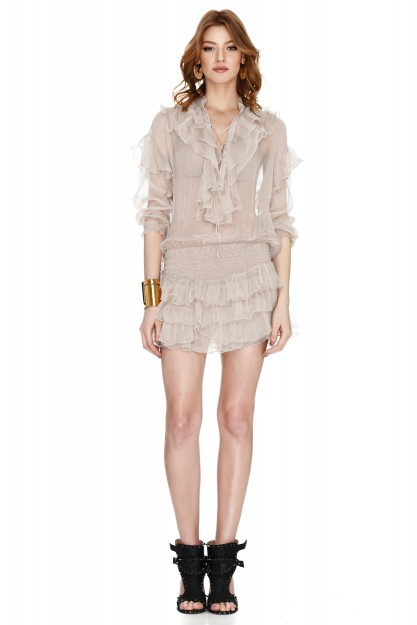 Beige Silk Mini Dress