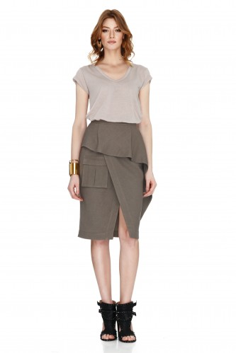 Army Green Wrap-Effect Skirt - PNK Casual