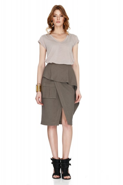 Army Green Wrap-Effect Skirt
