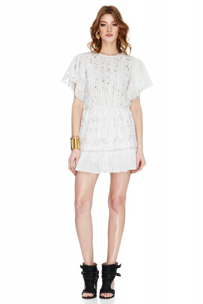 White Guipure Lace Mini Dress
