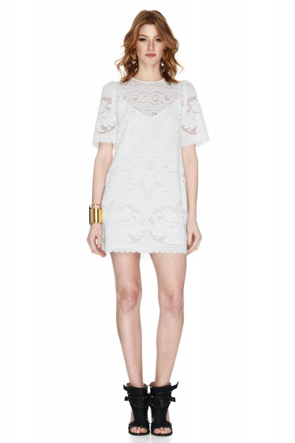 White Guipure Cotton-Blend Lace Mini Dress