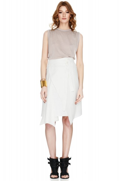 White Viscose And Ramie-Blend Skirt