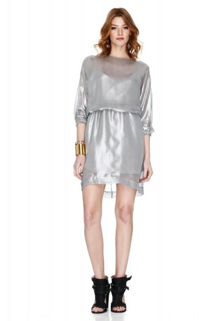 Metallic Organza Mini Dress