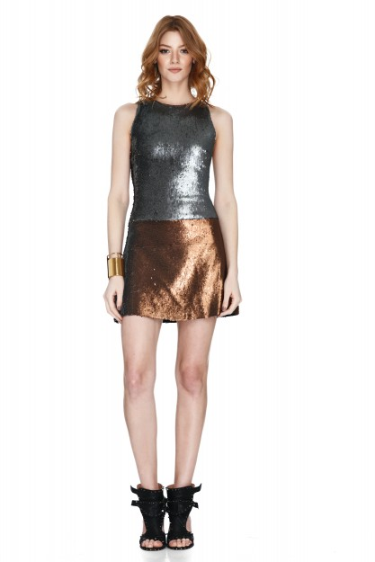 Silver And Copper Sequins Mini Dress