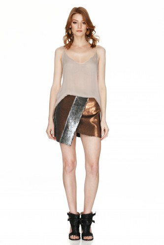 Silver And Copper Sequins Mini Skirt - PNK Casual