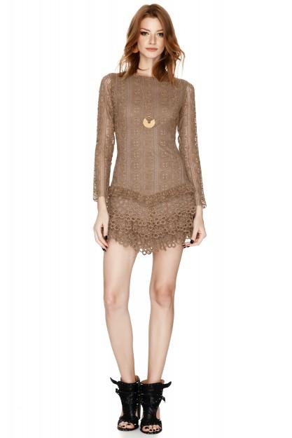 Brown Cotton Crochet Mini Dress