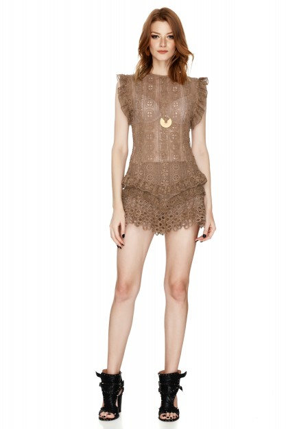 Brown Crocheted Lace Top
