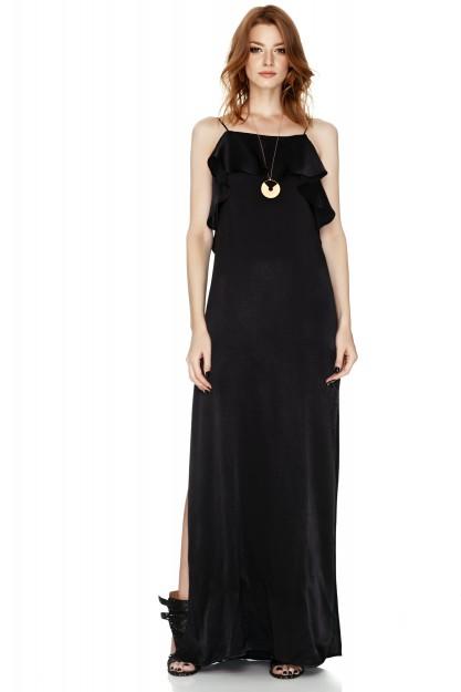 Black Satin Maxi Slip Dress