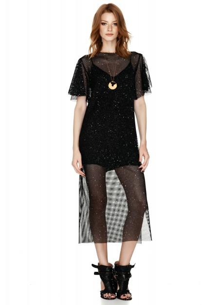 Metallic Mesh Midi Dress