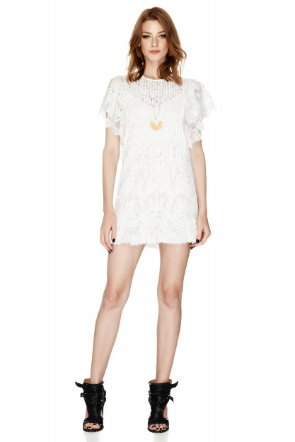 White Guipure Cotton-Blend Lace Dress