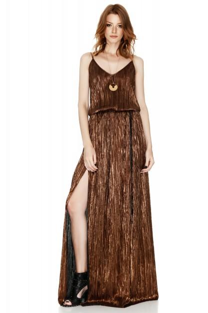 Metallic Maxi Slip Dress