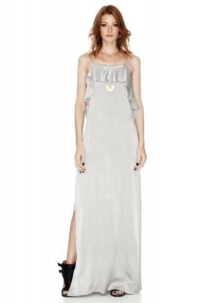Grey Satin Maxi Slip Dress