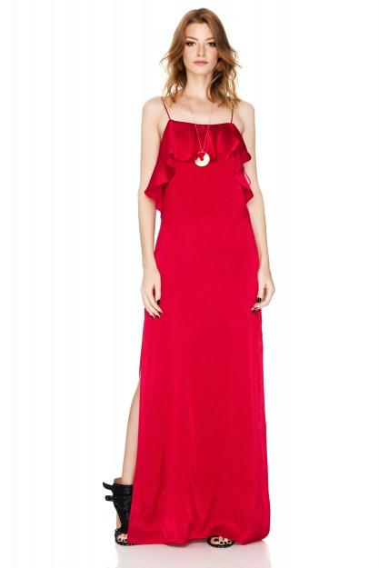 Red Satin Maxi Slip Dress