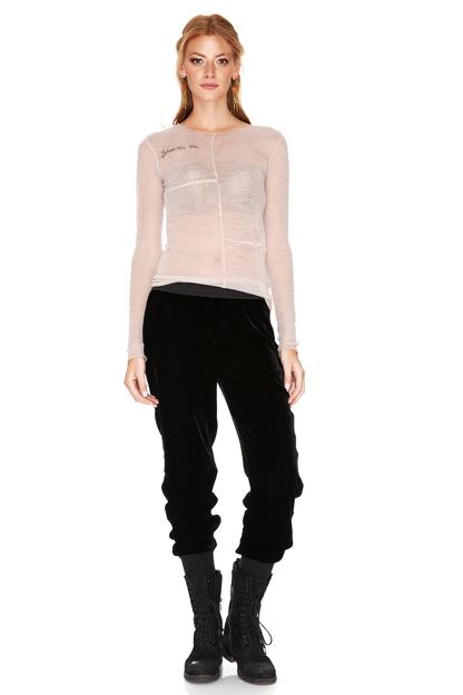 Black Silk Velvet Track Pants