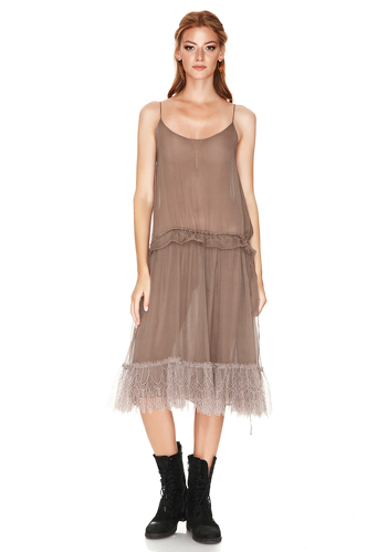 Light Brown Silk Midi Dress - PNK Casual