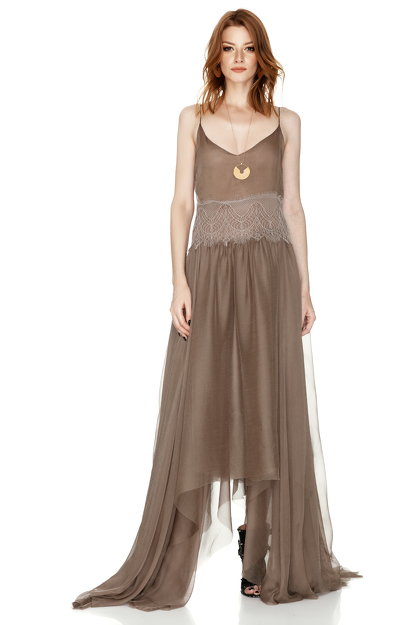 Light Brown Silk Maxi Dress