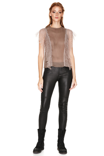 Light Brown Chantilly Lace Details Top - PNK Casual