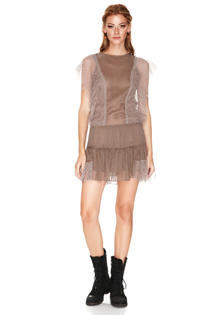 Light Brown Chantilly Lace Details Mini Dress