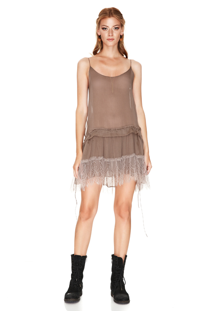 Light Brown Silk Mini Dress