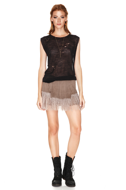 Light Brown Silk Mini Skirt