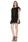 Black Silk Ruffled Mini Dress