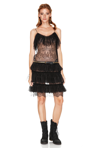 Black Chantilly Lace Ruffled Dress - PNK Casual