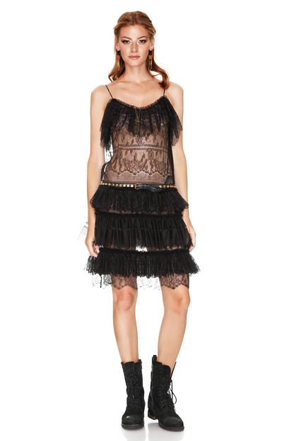 Black Chantilly Lace Ruffled Dress